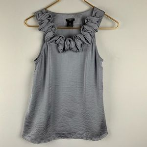 Ann Taylor Silver Blue Gray Ruffled Neck Tank 2P